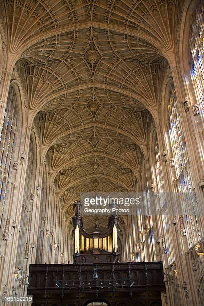King's College chapel interior with fan vaulting, Cambridge university, Cambridgeshire, England.
