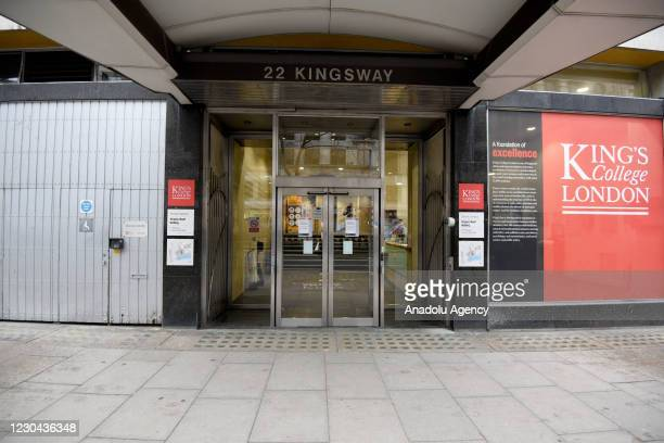 Kings College London on January 05, 2021 in London, England. British Prime Minister made a national television address on Monday evening announcing...
