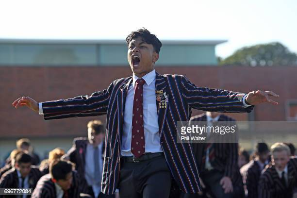 Kings College students perform their haka before the Schoolboy XV match between Auckland Grammar and Kings College on June 17 2017 in Auckland New...