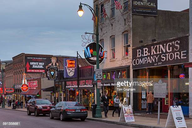 King's Company Store and music venues in legendary Beale Street entertainment district of Memphis Tennessee USA