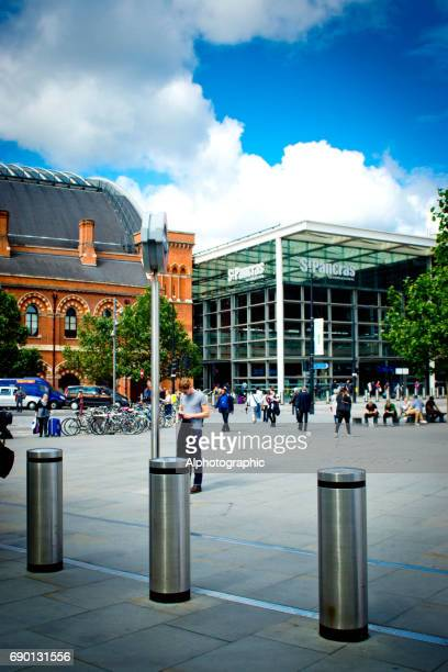 kings cross station entrance - bollard stock photos and pictures