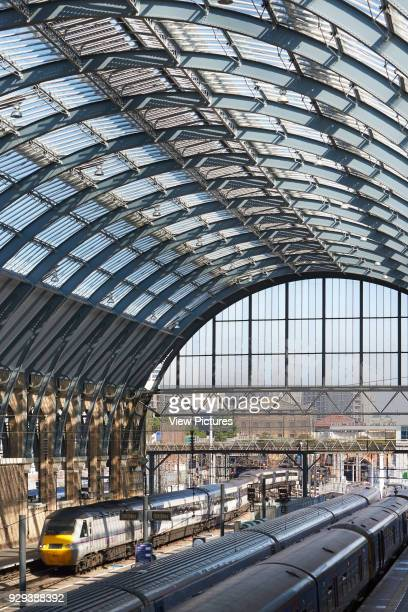 King's Cross trainshed London United Kingdom Architect Network Rail 2013 View through restored trainshed with vaulted steel and glass roof