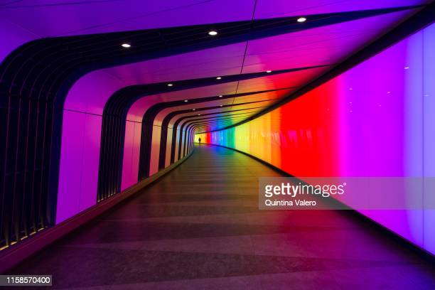 King's Cross tunnel is lit with the rainbow flag colours to celebrate Pride Jubilee on June 26 2019 in London United Kingdom The first Gay Pride...
