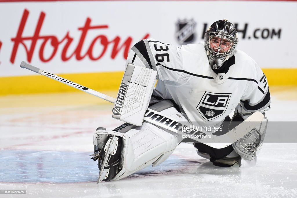 La Kings Goalie Jack Campbell Stretches Before The Start Of The