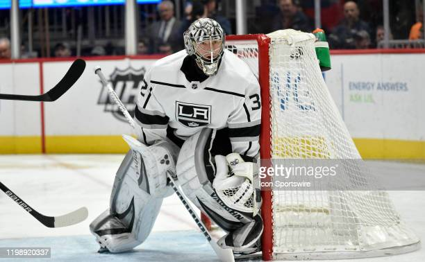 Kings goalie Jonathan Quick watches the puck during the Los Angeles Kings vs. Washington Capitals NHL game on February 4, 2020 at Capital One Arena...