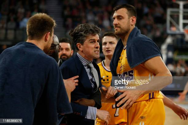 Kings head coach‎ Will Weaver is ejected from the game after a double-tech foul during the round five NBL match between Melbourne United and the...