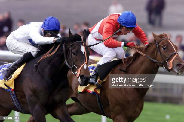 King's Ironbridge with jockey Richard Hughes holds on to finish first past Red Carpet and jockey Johnny Murtagh in the Macau Jockey Club Craven...