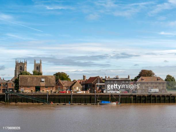 king's lynn landmarks seen from west lynn - king's lynn stock pictures, royalty-free photos & images