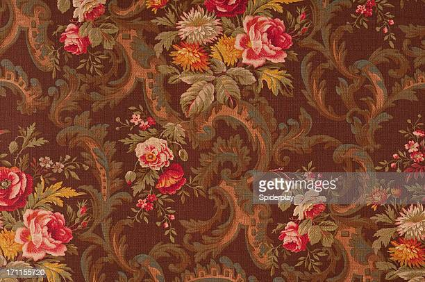 King's Muir Brown Medium Antique Floral Fabric