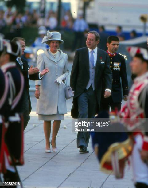 Kings of Greece Constantine and Anamaria at the wedding of the Infanta Cristina daughter of the Spanish Kings Juan Carlos and Sofia 04th October 1997...