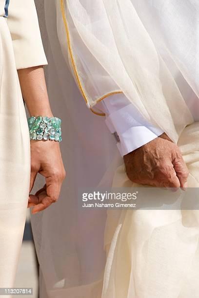 Kings of Spain bid farewell to Sheikha Mozah Bint Nasser at El Pardo Palace on April 27 2011 in Madrid Spain