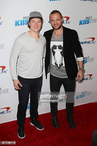 Kings players Tyler Toffoli and Mark Yannetti arrive at 102.7 KIIS FM's Jingle Ball 2016 at the Staples Center on December 2, 2016 in Los Angeles,...