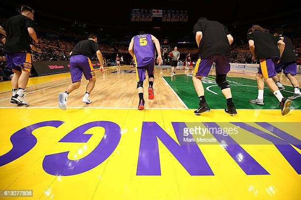 Kings players warm up before the round one NBL match between the Sydney Kings and the Brisbane Bullets at Qudos Bank Arena on October 8 2016 in...