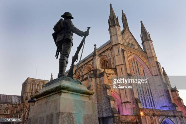 Kings Royal Rifle Corps War memorial, in front of Winchester Cathedral, in Winchester, Hampshire, England.