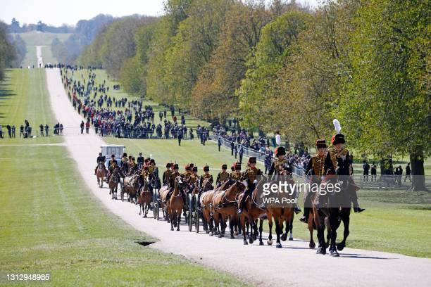 Kings Troop Royal Horse Artillery make their way up The Long Walk towards Windsor Castle ahead of the funeral of Prince Philip, Duke of Edinburgh on...
