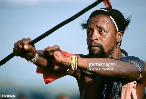 King's warrior during the Incwala dance in honor of the king detail of the face Swaziland