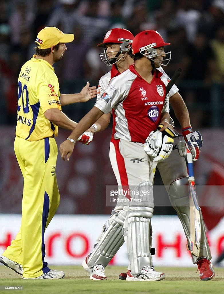 Kings XI Punjab batsman Adam Gilchrist and Azhar Mehmood congrulated by Chennai Super Kings player Ben Hilfenhaus on their victory during IPL Twenty 20 cricket match between Kings XI Punjab and Chennai Super Kings at HPCA stadium on May 17, 2012 in Dharamshala, India. Chasing 120 runs made by Chennai Super Kings, Kings XI Punjab won the match by 6 wickets.