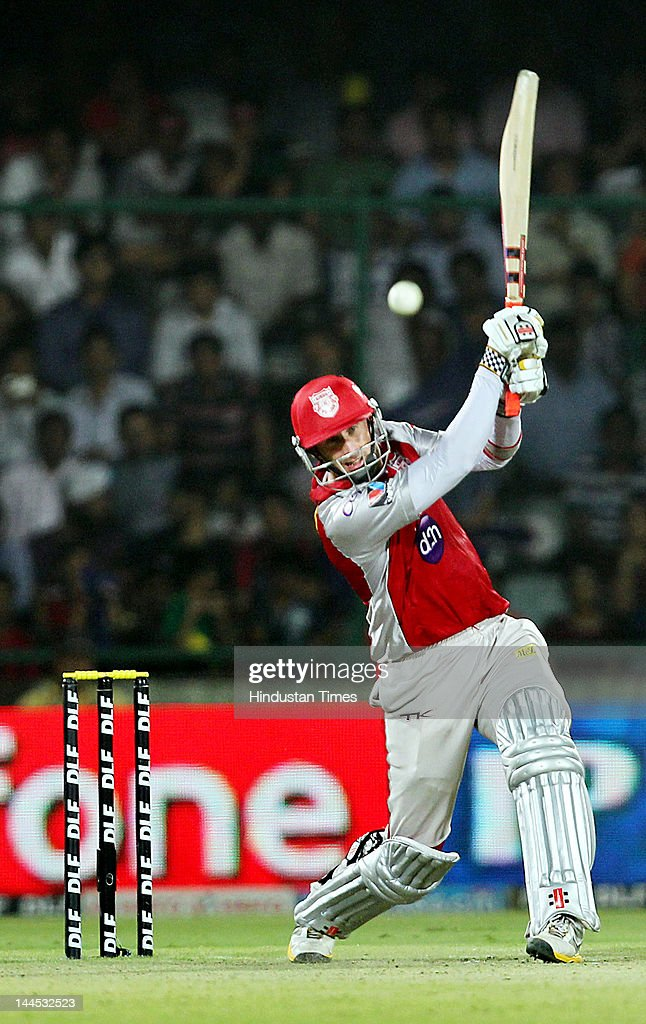 Kings XI Punjab batsman David Hussey plays a shot during the IPL cricket match between Delhi Daredevils and Kings XI Punjab, at Ferozshah Kotla Ground on May 15, 2012 in New Delhi, India.