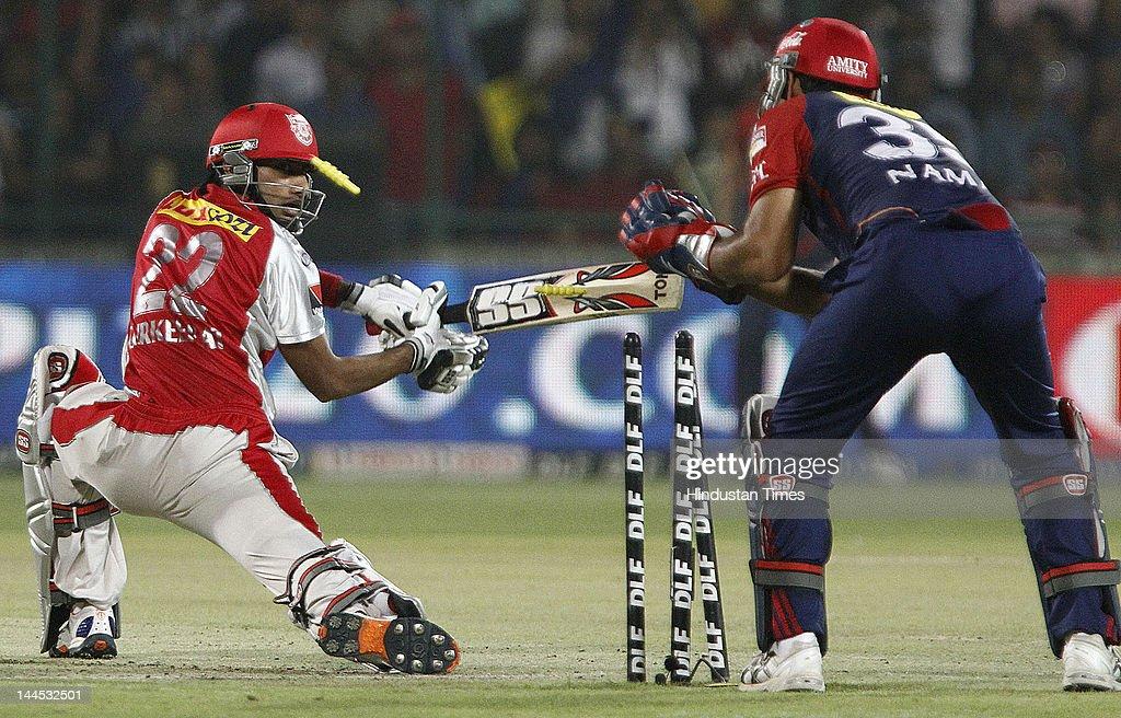 Kings XI Punjab batsman Gurkeerat Singh is stumped by the Delhi Daredevils Keeper Naman Ojha on the bowling of Pawan Negi during the IPL cricket match between Delhi Daredevils and Punjab Kings XI, at Ferozshah Kotla Ground on May 15, 2012 in New Delhi, India.