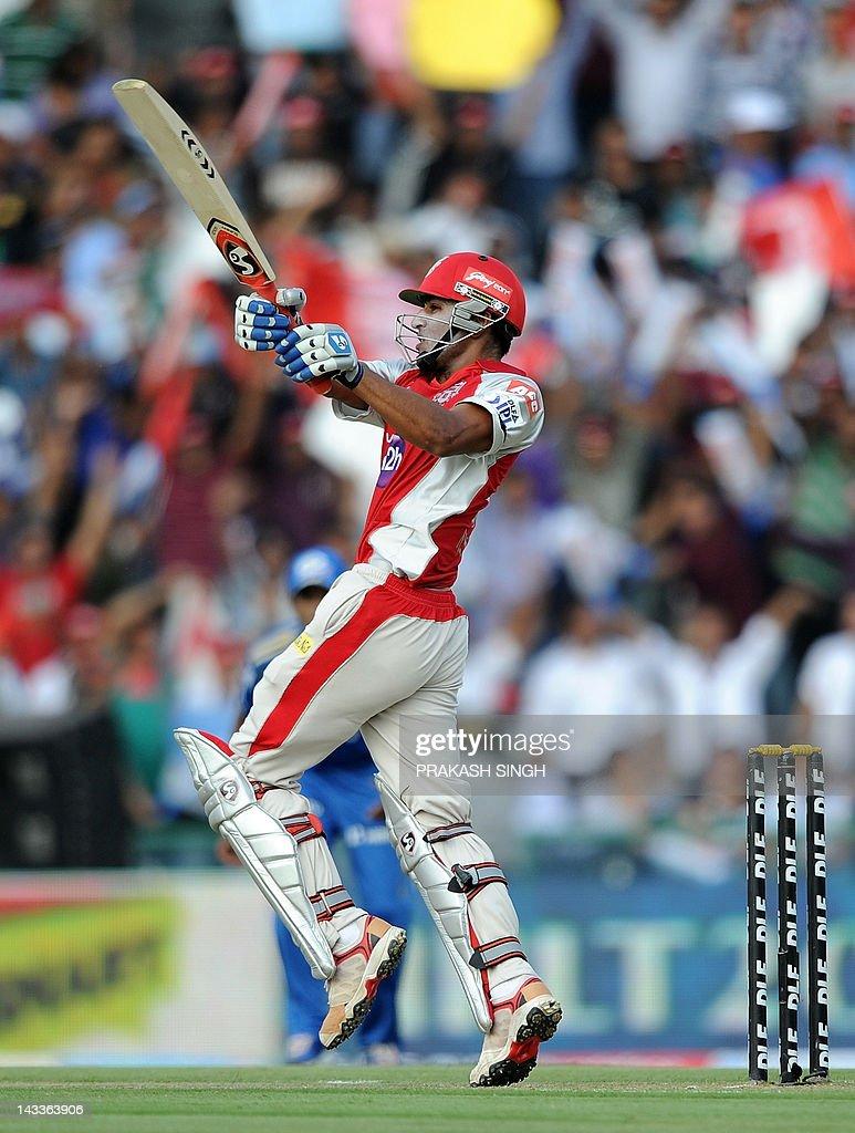 Kings XI Punjab batsman Nitin Saini plays a shot during the IPL Twenty20 cricket match between Kings XI Punjab and Mumbai Indians at PCA Stadium in Mohali on April 25, 2012. RESTRICTED TO EDITORIAL USE. MOBILE USE WITHIN NEWS PACKAGE AFP PHOTO/ Prakash SINGH