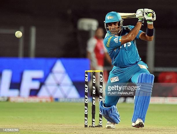 Kings XI Punjab batsman Robin Uthappa plays a shot during the IPL Twenty20 cricket match between Pune Warriors India and Kings XI Punjab at The...