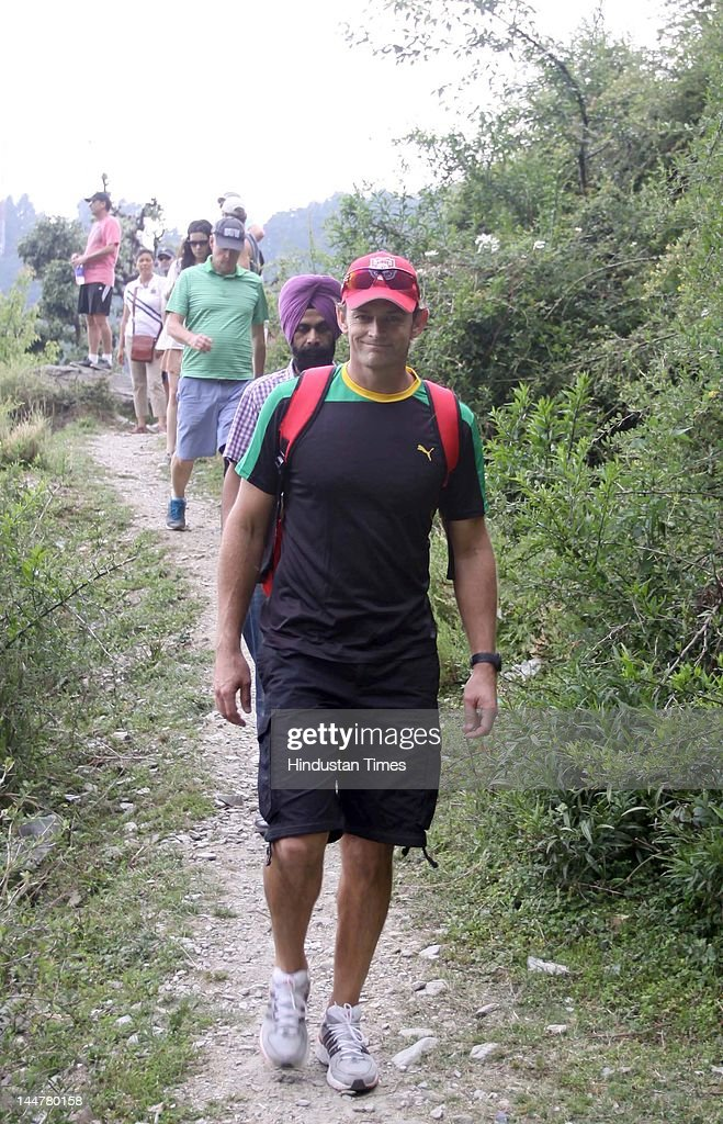 Kings XI Punjab captain Adam Gilchrist along with some teammates go on a trek from Dharamkot to Bhagsunag near Mcleodjang on May 18, 2012 in Dharamsala, India. Kings XI Punjab will play their next match against Delhi Daredevils here on May 19, 2012.