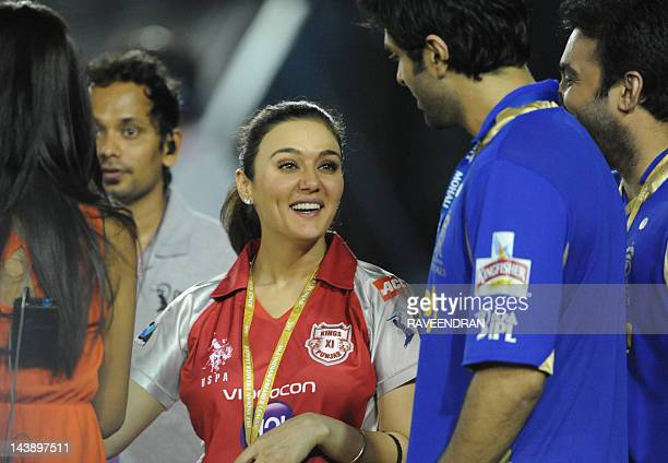 Kings XI Punjab coowner and Bollywood actress Preity Zinta gestures during the IPL Twenty20 cricket match between Kings XI Punjab and Rajasthan...