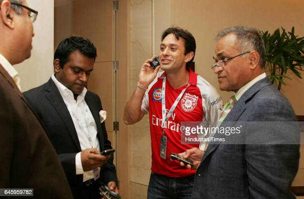 Kings XI Punjab owner Ness Wadia with Niranjan Shah at the Trident hotel on Tuesday