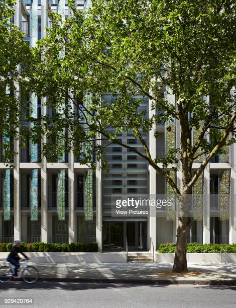 Kingsgate House London United Kingdom Architect Horden Cherry Lee Architects Ltd 2014 Front elevation of facade with bicyclist