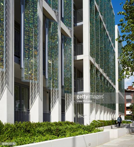 Kingsgate House London United Kingdom Architect Horden Cherry Lee Architects Ltd 2014 Perspective along facade with colonnade and solar panels