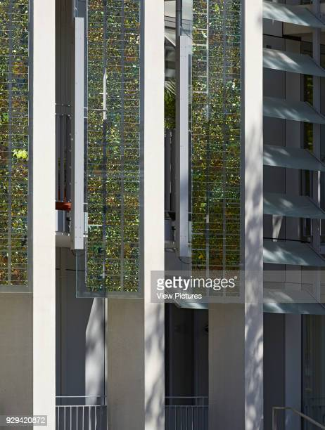 Kingsgate House London United Kingdom Architect Horden Cherry Lee Architects Ltd 2014 Detail of elevation of vertical glass shutters with integrated...