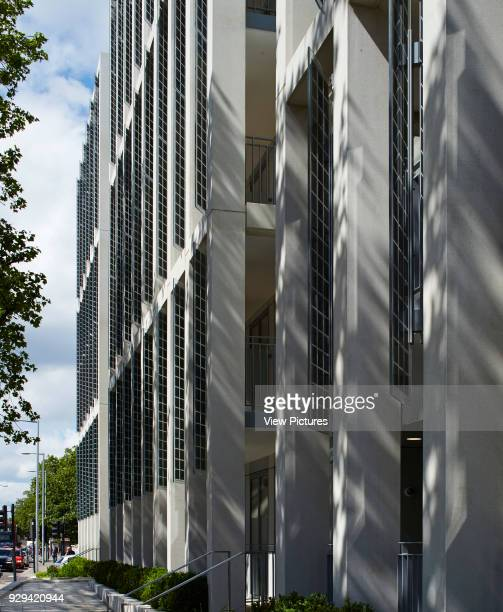 Kingsgate House London United Kingdom Architect Horden Cherry Lee Architects Ltd 2014 Perspective of colonnade facade with vertical glass shutters