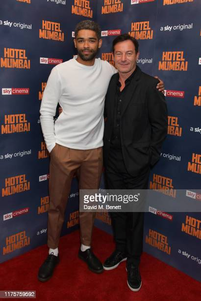 """Kingsley Ben-Adir and Jason Isaacs attend a Gala Screening of """"Hotel Mumbai"""" at The Electric Cinema, on September 19, 2019 in London, England."""