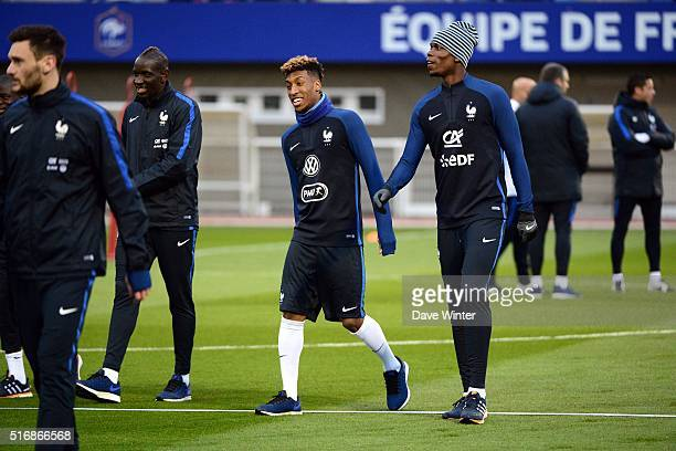 Kingsley Coman and Paul Pogba of France during training on the first day of their training ahead of the friendly football match against Netherlands...