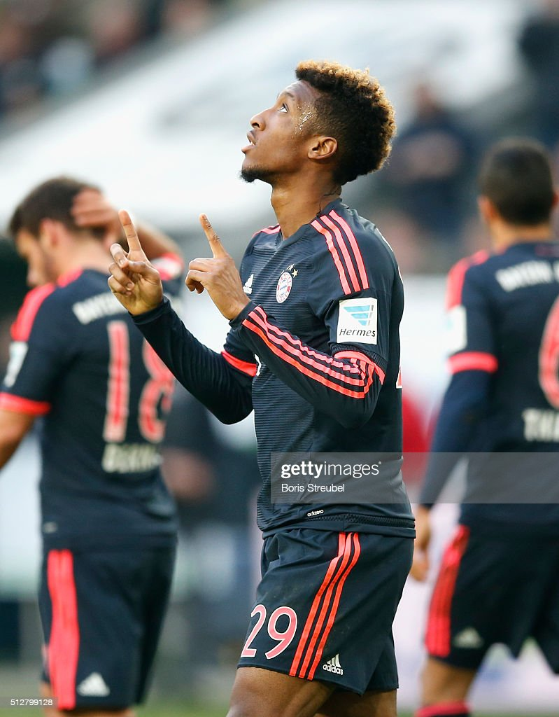 Kingsley Coman celebrates after scoring his team's first goal during the Bundesliga match between VfL Wolfsburg and FC Bayern Muenchen at Volkswagen Arena on February 27, 2016 in Wolfsburg, Germany.
