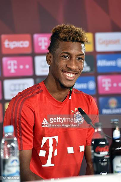 Kingsley Coman during the 'FC Bayern Muenchen Unveils New Signing Kingsley Coman' at press center of FC Bayern on September 10 2015 in Munich Germany
