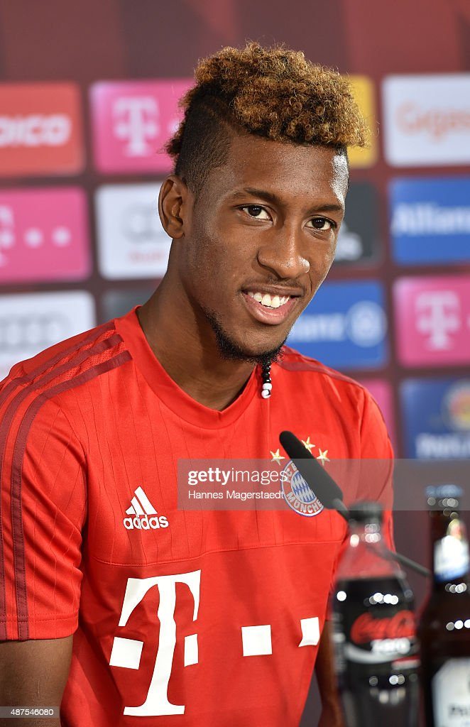 Kingsley Coman during the 'FC Bayern Muenchen Unveils New Signing Kingsley Coman' at press center of FC Bayern on September 10, 2015 in Munich, Germany.