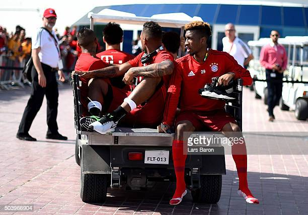 Kingsley Coman is seen during a training session at day three of the Bayern Muenchen training camp at Aspire Academy on January 8 2016 in Doha Qatar