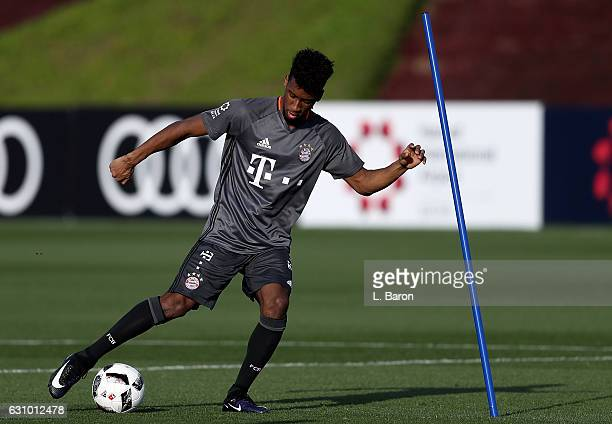 Kingsley Coman kicks a ball during a training session at day 3 of the Bayern Muenchen training camp at Aspire Academy on January 5 2017 in Doha Qatar