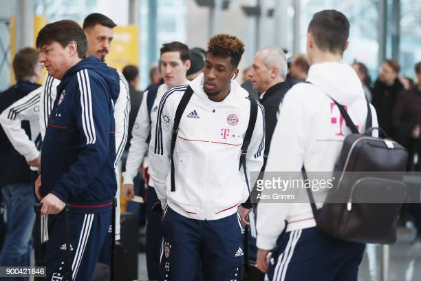 Kingsley Coman of Bayern Muenchen arrives at the airport for the departure to the team's training camp in Doha Qatar on January 2 2018 in Munich...