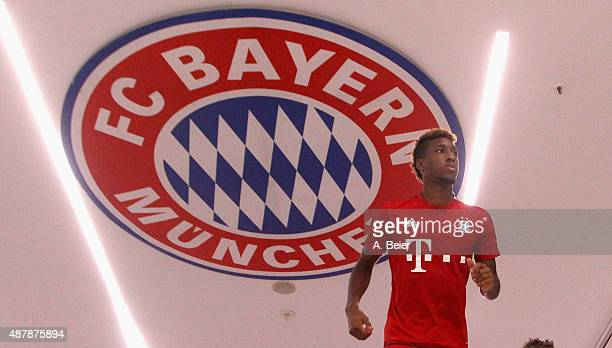 Kingsley Coman of Bayern Muenchen arrives at the players' tunnel before the Bundesliga match between FC Bayern Muenchen and FC Augsburg at Allianz...