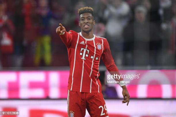 Kingsley Coman of Bayern Muenchen celebrates after he scored a goal to make it 32 during the Bundesliga match between FC Bayern Muenchen and TSG 1899...