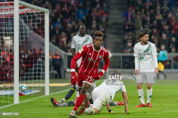 Kingsley Coman of Bayern Muenchen celebrates after scoring his team`s second goal during the Bundesliga match between FC Bayern Muenchen and Hannover...