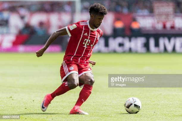 Kingsley Coman of Bayern Muenchen controls the ball during the Bundesliga match between Bayern Muenchen and SC Freiburg at Allianz Arena on May 20...