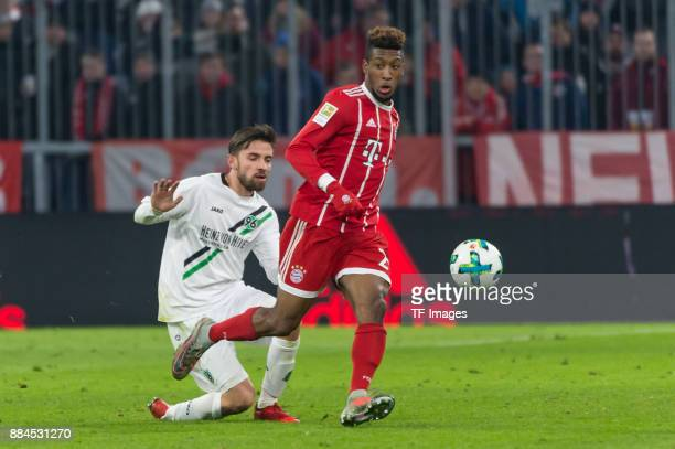 Kingsley Coman of Bayern Muenchen controls the ball during the Bundesliga match between FC Bayern Muenchen and Hannover 96 at Allianz Arena on...