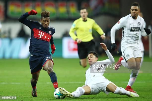 Kingsley Coman of Bayern Muenchen is fouled Carlos Salcedo of Frankfurt during the Bundesliga match between Eintracht Frankfurt and FC Bayern...