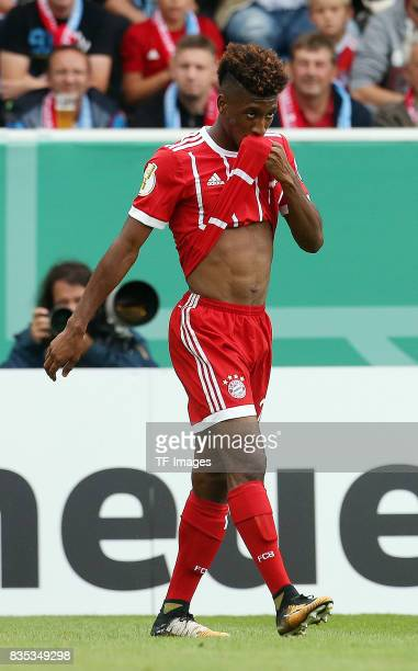 Kingsley Coman of Bayern Muenchen looks on during the DFB Cup first round match between Chemnitzer FC and FC Bayern Muenchen at community4you Arena...