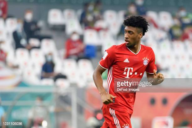 Kingsley Coman of Bayern Muenchen looks on during the finale FIFA Club World Cup Qatar 2020 match between FC Bayern Muenchen and Tigres UANL on...