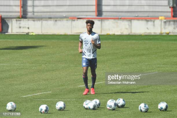 Kingsley Coman of Bayern Muenchen runs towards balls during a training session at Saebener Strasse training ground on April 06 2020 in Munich Germany