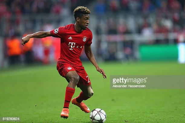Kingsley Coman of Bayern Muenchen runs with the ball during the UEFA Champions League quarter final first leg match between FC Bayern Muenchen and SL...
